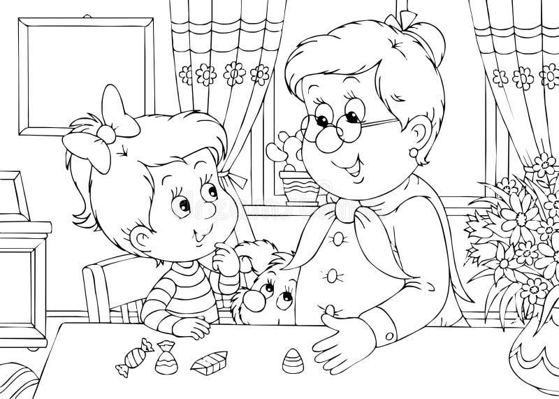 Nipote e nonna illustrazione vettoriale
