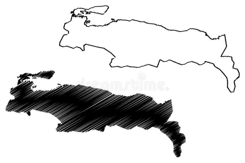 Nippes-Abteilung Republik von Haiti, Hayti, Hispaniola, Abteilungen der Haiti-Kartenvektorillustration, Gekritzelskizze Nippes-Ka stock abbildung