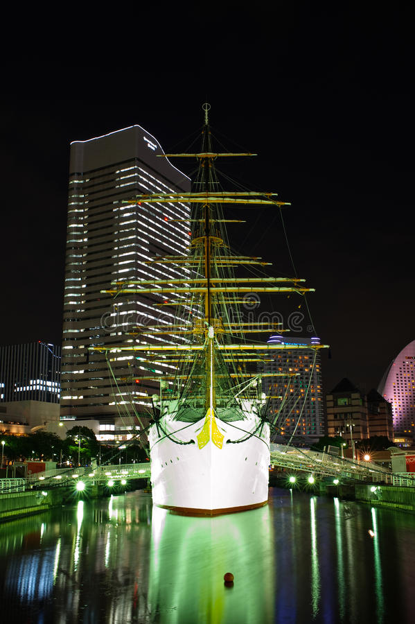 Nippon Maru bij nacht royalty-vrije stock foto