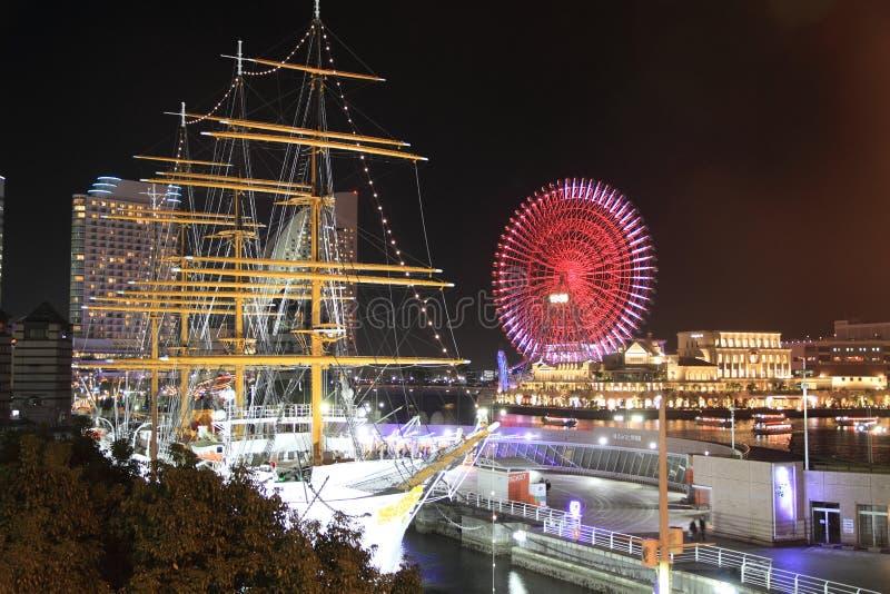 Nippon maru and Yokohama Cosmo World in Japan stock photo