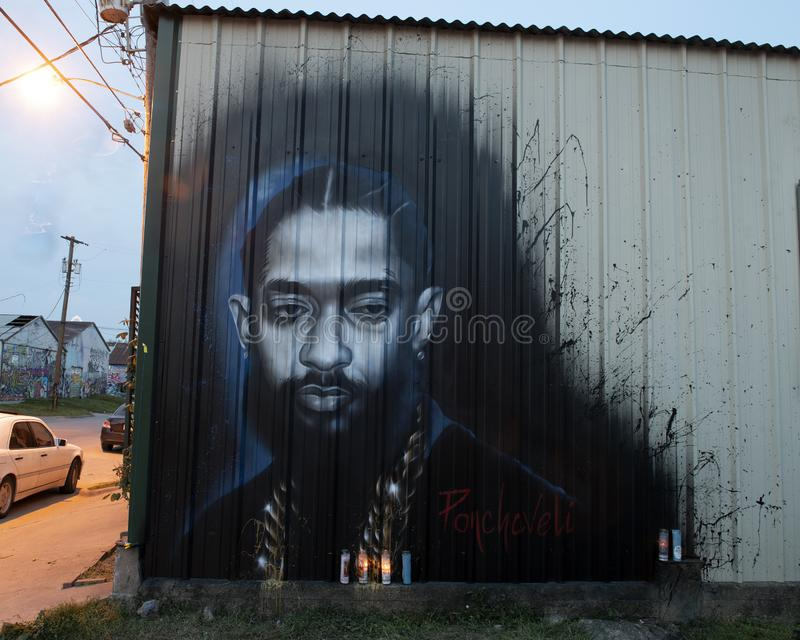 Nipsey Hussle comportant mural par Ponchaveli à Dallas, le Texas photos libres de droits