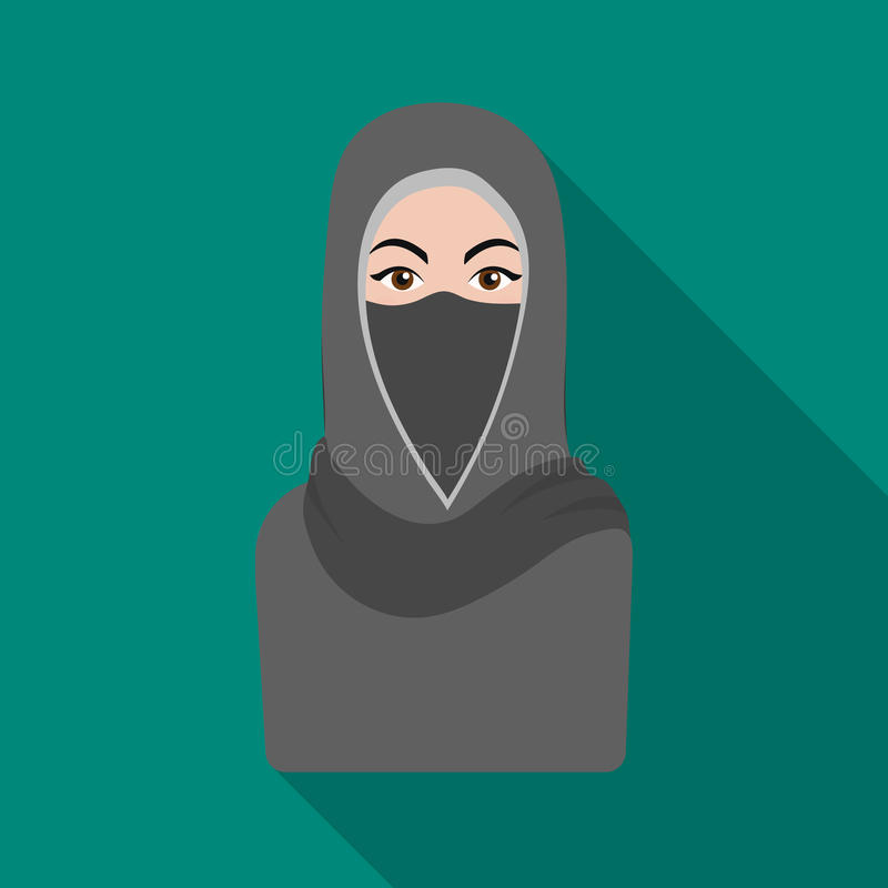 Niqab icon in flat style isolated on white background. Religion symbol stock vector illustration. stock illustration