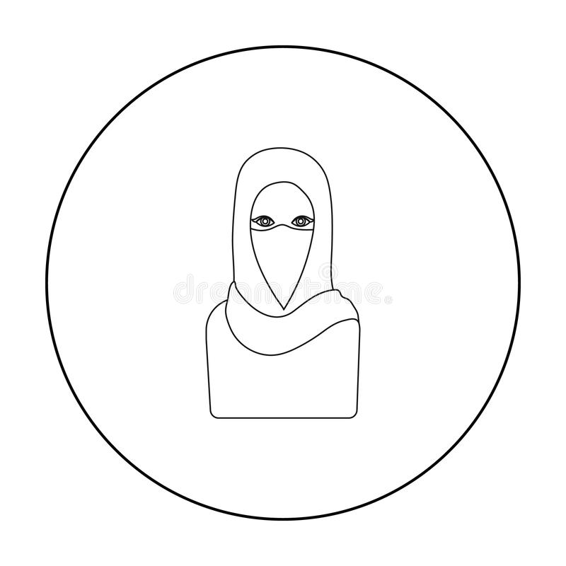 Niqab icon in outline style isolated on white background. Religion symbol stock vector illustration. stock illustration