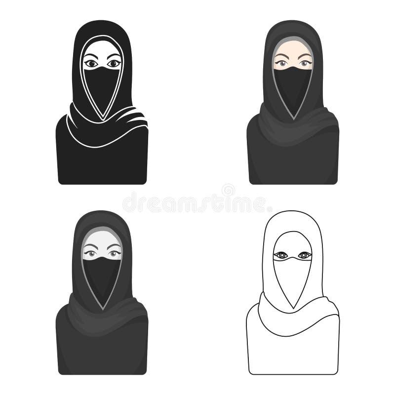 Niqabpictogram in beeldverhaalstijl op witte achtergrond De voorraad vectorillustratie van het godsdienstsymbool vector illustratie