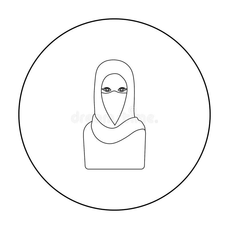 Niqabpictogram in overzichtsstijl op witte achtergrond wordt geïsoleerd die De voorraad vectorillustratie van het godsdienstsymbo stock illustratie
