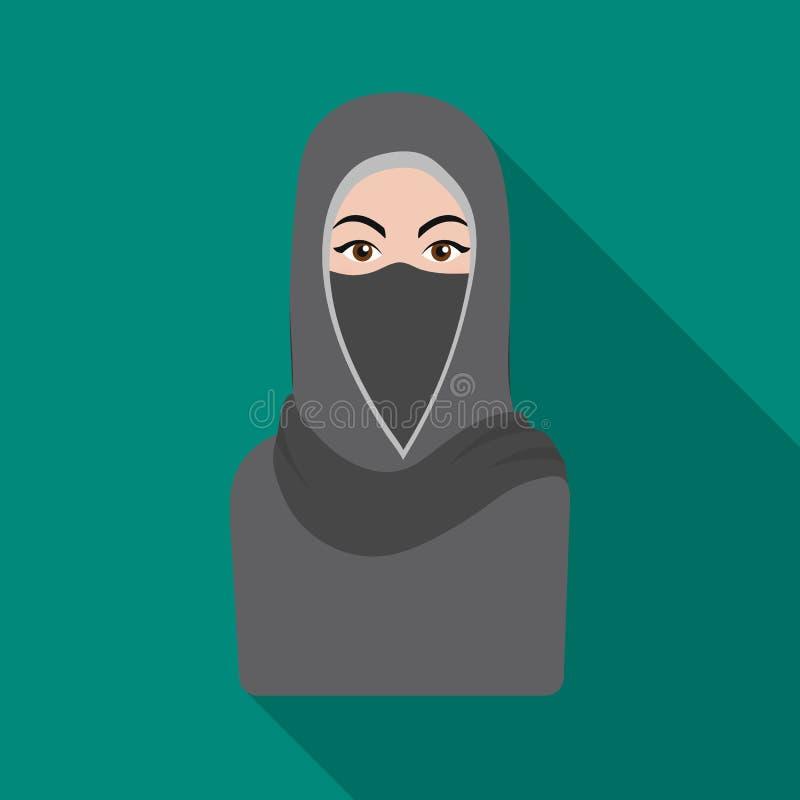 Niqabpictogram in vlakke die stijl op witte achtergrond wordt geïsoleerd De voorraad vectorillustratie van het godsdienstsymbool stock illustratie