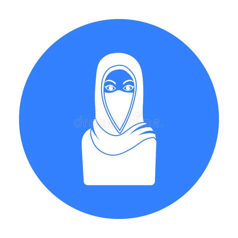 Niqabpictogram in zwarte die stijl op witte achtergrond wordt geïsoleerd De voorraad vectorillustratie van het godsdienstsymbool royalty-vrije illustratie
