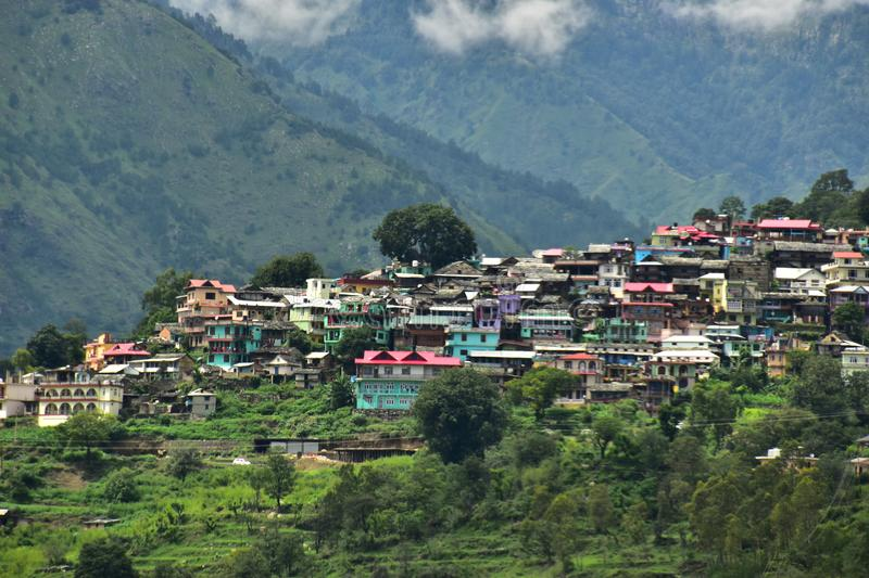 Nirmand the town from the kullu valley himachal india. This is the small hill town nirmand from kullu himachal india royalty free stock image