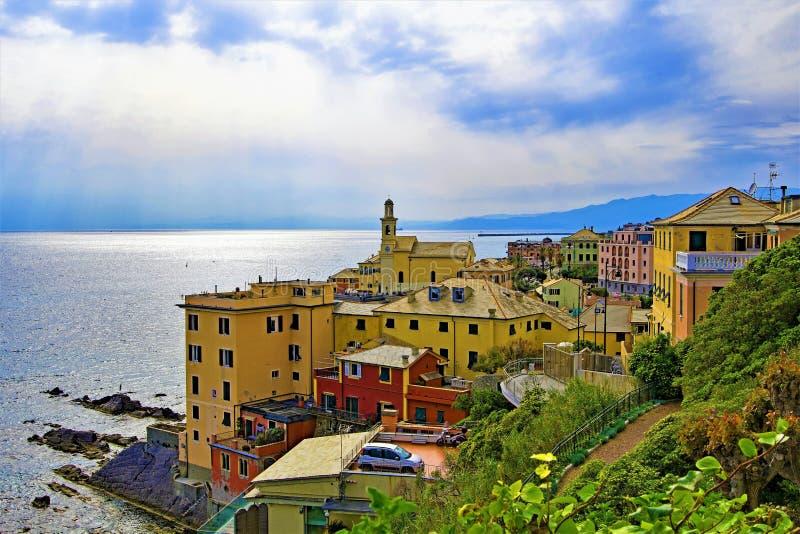Nirva和利古里亚海,在一天空蔚蓝天,热那亚,利古里亚,意大利 库存图片