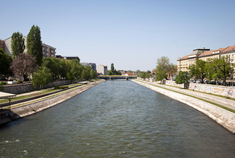 Nis with Nisava river, Serbia. Nisava river in the city of Nis, Serbia royalty free stock photos