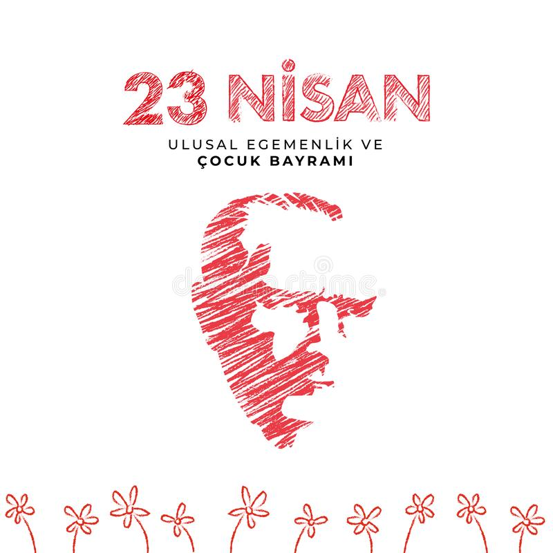 23 april national sovereignty and children`s day in Turkey Vector Illustrations stock images