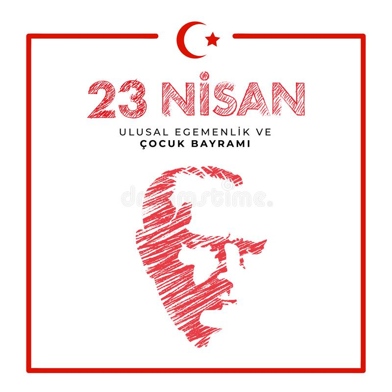 23 april national sovereignty and children`s day in Turkey Vector Illustrations stock image