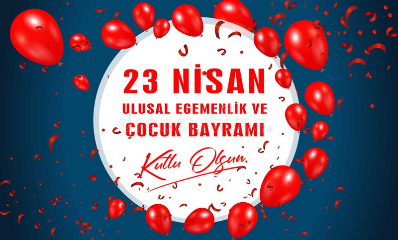 Vector illustration of the cocuk bayrami 23 nisan , translation: Turkish April 23 National Sovereignty and Children`s Day. stock illustration