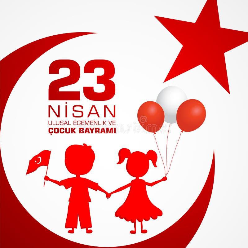 23 nisan cocuk baryrami. Translation: Turkish April 23 Childrens day. Vector illustration royalty free illustration