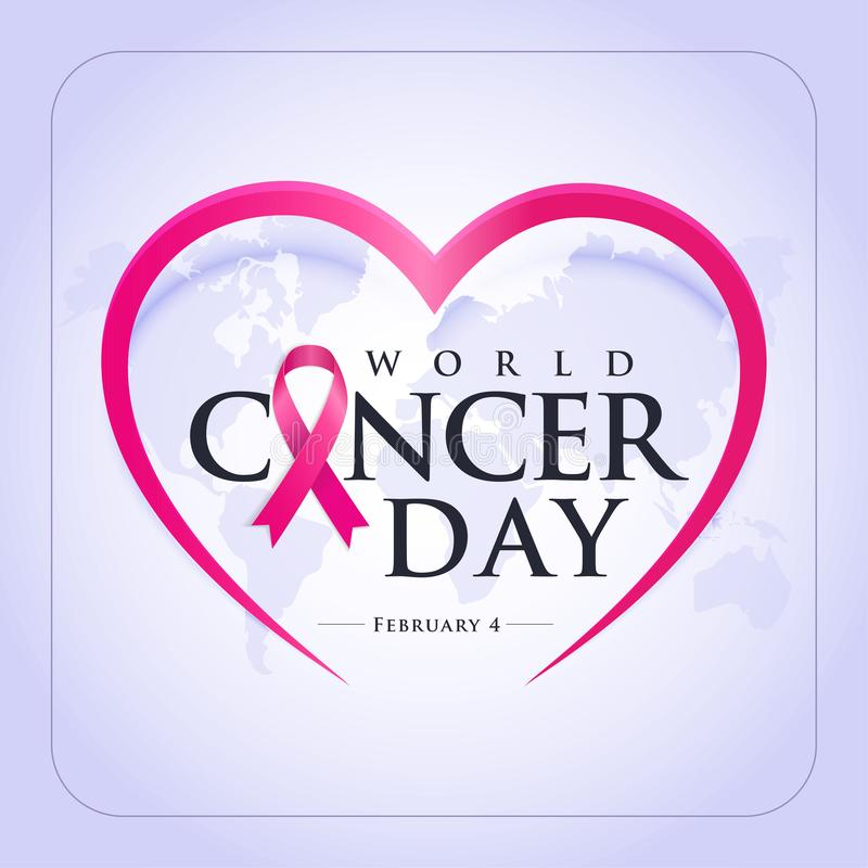 World Cancer Day. 1-7 nisan kanserle savaş haftası, kanser günü Translation: February 4, World Cancer Day. Creative greeting card design, world stock illustration