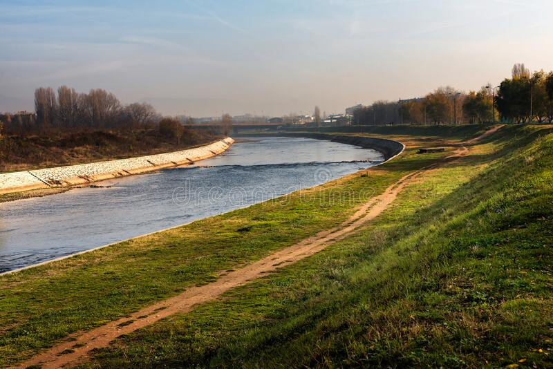 Nisava River on the outskirts of the City of Nis, Serbia. Nisava River on the outskirts of the City of Nis in Serbia, with walking and jogging paths and parks royalty free stock image