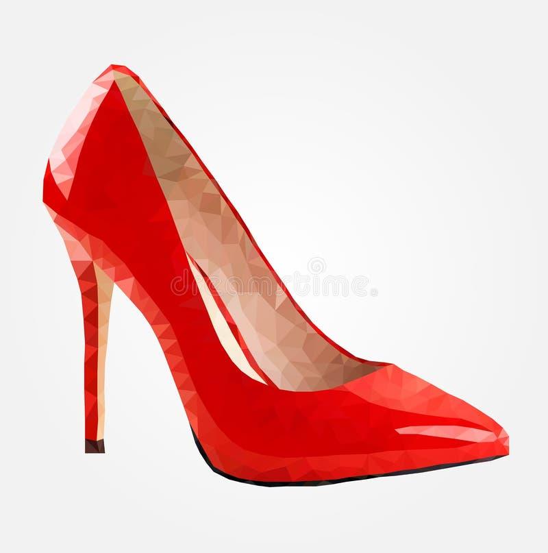 Niscy poli- buty, czerwoni kobieta buty Poli- ilustracji