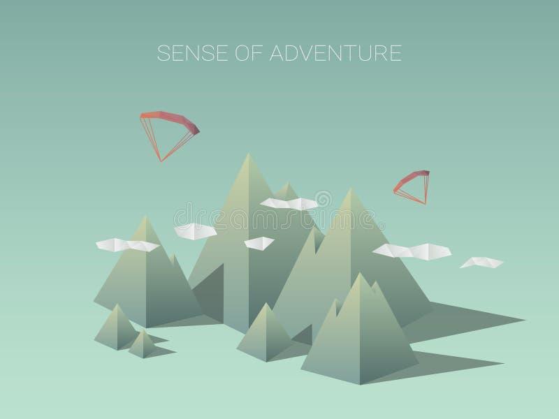 Niscy poli- góra krajobrazy Nowożytny geometryczny royalty ilustracja