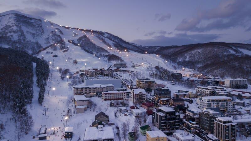 Niseko滑雪村庄鸟瞰图  免版税图库摄影