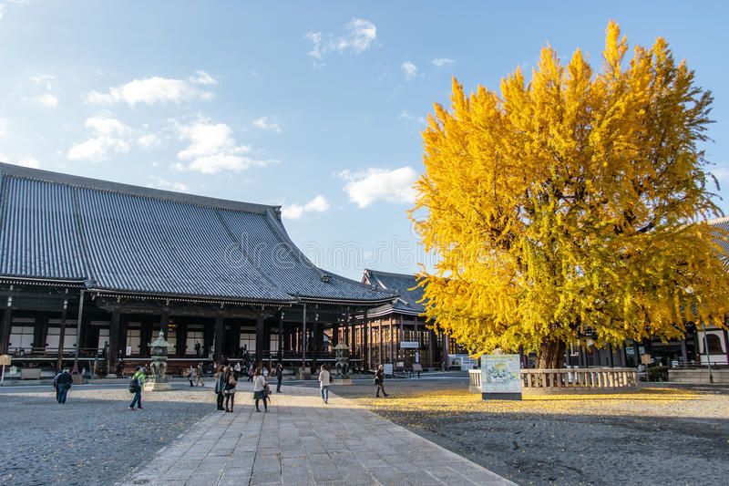 Nishi Hongan-Ji temple - a Shinto temple in the center of Kyoto - Honshu - Japan. Asia royalty free stock photography