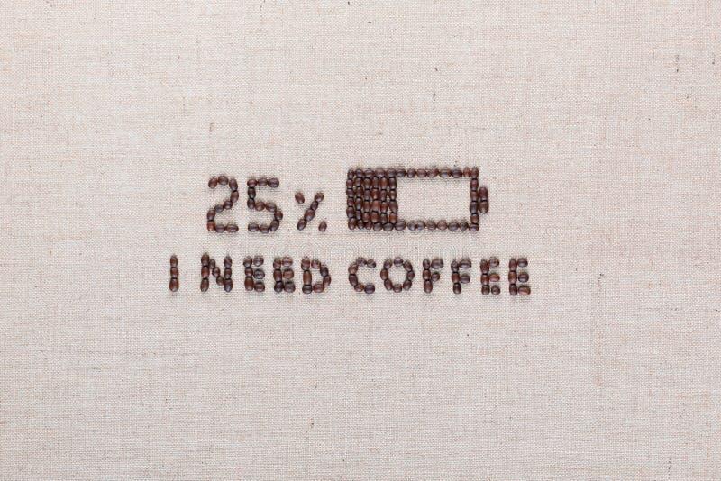Niska bateria i Ja potrzebujemy kawowych słowa od kawowych fasoli, ustawiony centrowany zdjęcia stock