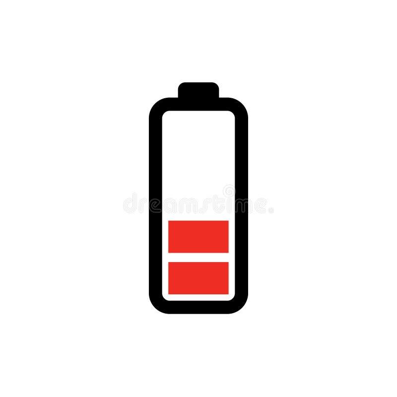 Niska bateryjna ikona elektryczność symbol płaska wektorowa ilustracja odizolowywająca dalej - władzy batteryillustration - energ ilustracja wektor