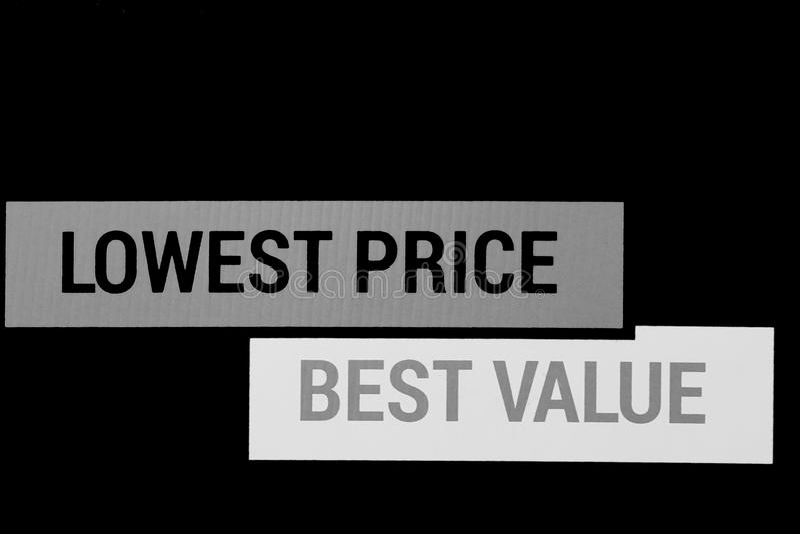 Niska cena i najlepszy wartość dla produktów, usług/ obrazy stock