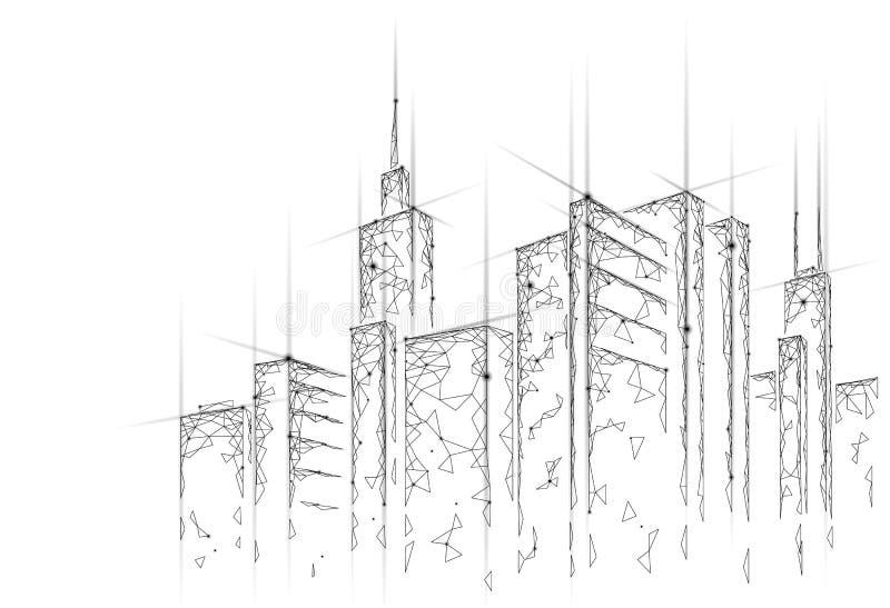 Niska poli- mądrze miasta 3D druciana siatka Inteligentny budynek automatyzaci systemu biznesu pojęcie Sieć online komputer royalty ilustracja