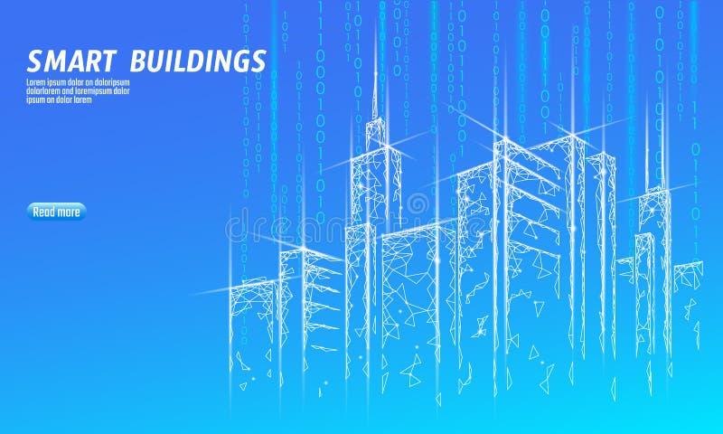 Niska poli- mądrze miasta 3D druciana siatka Inteligentny budynek automatyzaci systemu biznesu pojęcie Sieć online komputer ilustracja wektor