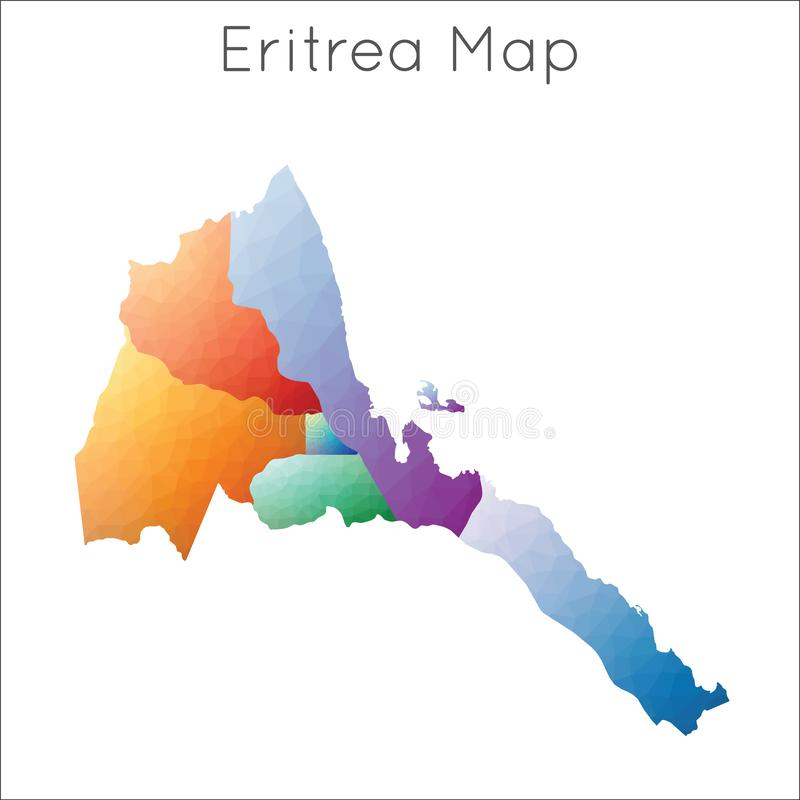 Niska poli- mapa Eritrea ilustracja wektor
