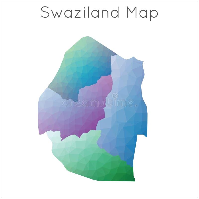 Niska Poli- mapa Swaziland ilustracja wektor