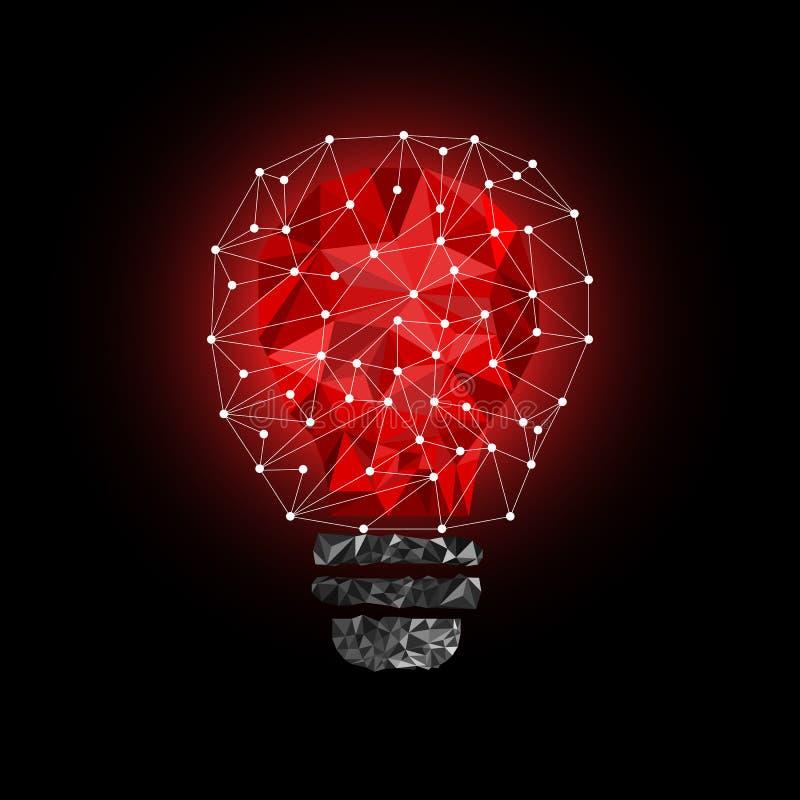 Niska Poli- stylu światła czerwieni żarówka Wektorowa abstrakcjonistyczna ilustracja na czarnym tle ilustracji