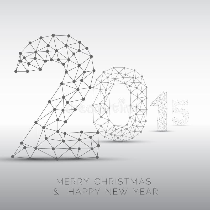 Niska poli- Szczęśliwa nowego roku wektoru 2015 karta ilustracja wektor