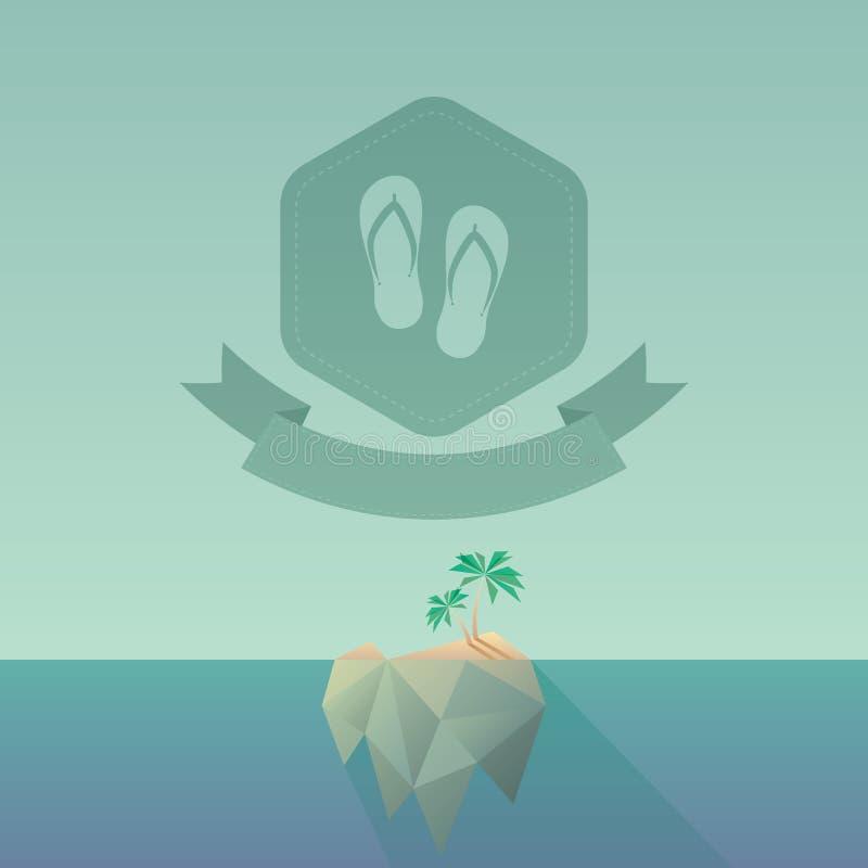 Niska poli- tropikalna wyspa z długim cieniem Nowożytny poligonalny projekt, roczników kolory i geometryczni kształty, Sześciokąt ilustracja wektor