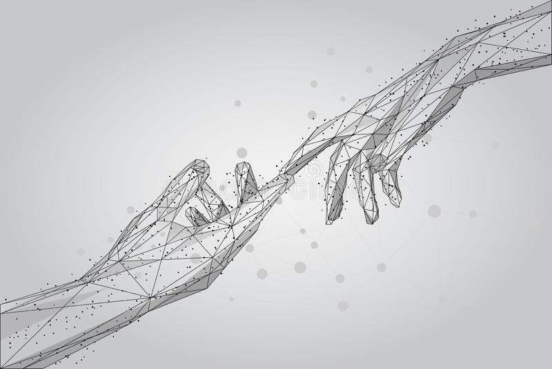 Niska poli- wireframe istota ludzka wręcza macanie z palcami od linii, trójboków i cząsteczek, ilustracji