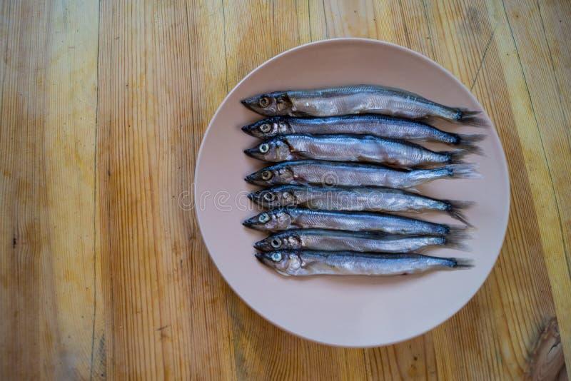 Niski boczny widok mała srebna ryba w beżowym talerzu na drewnianym stole, zakończenie w górę fotografia royalty free
