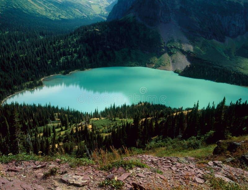 Niski Grinnell jezioro od Grinnell lodowa śladu, lodowa park narodowy, Montana obrazy royalty free