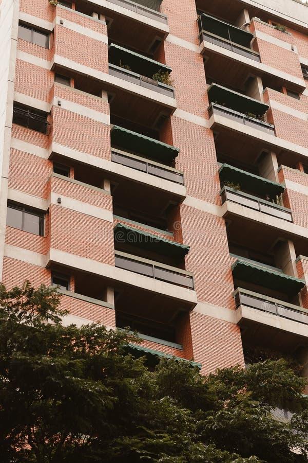 Niski kąt strzelał wysoki budynek mieszkaniowy z greenery pod obraz stock