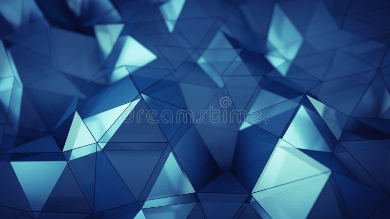 Niski poli- błękitny szkło powierzchni 3D rendering ilustracja wektor