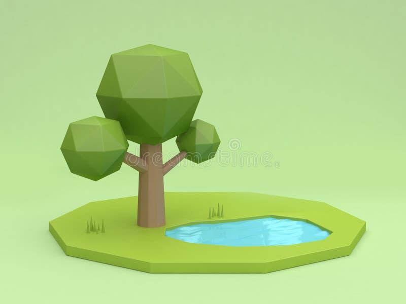 Niski poli- drzewo zieleni tło i stawu odbicia kreskówka projektujemy 3d rendering ilustracji
