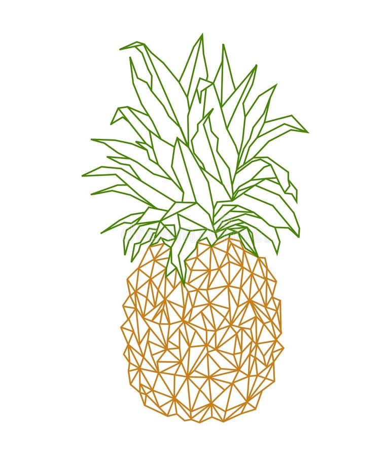 Niski poli- geometrical poligonal ananasa rysunek royalty ilustracja
