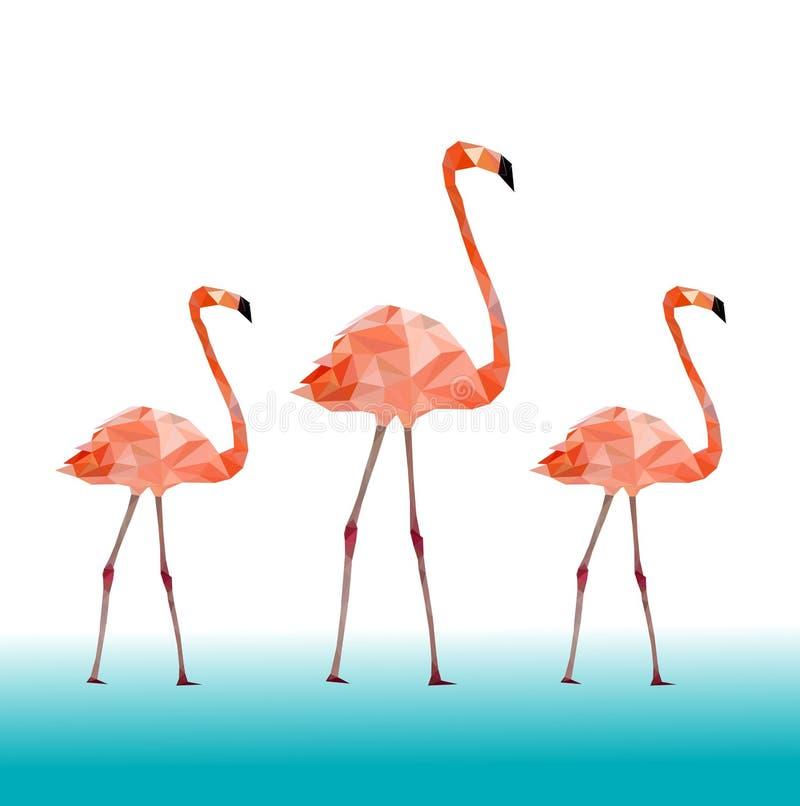 Niski poli- kolorowy flaminga ptak na błękita plecy ziemi, zwierzęcy geometryczny pojęcie, wektor ilustracja wektor