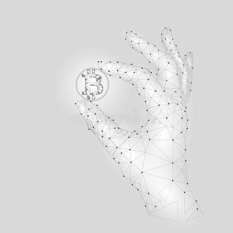 Niski poli- ręka chwyta bitcoin ostrożnie Poligonalny trójbok łączył kropka punktu cryptocurrency białą szarą monetę finanse ilustracja wektor