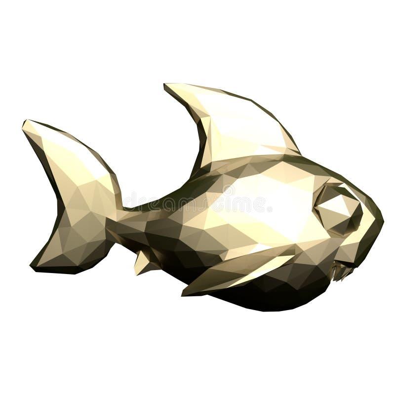 Niski poli- złocisty rekin świadczenia 3 d ilustracja wektor