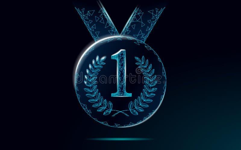 Niski poli- zwycięzcy medal na faborku Konkursu lider najpierw umieszcza ceremonii trofeum Drużynowy sukcesu biznesu pojęcie Wygr royalty ilustracja