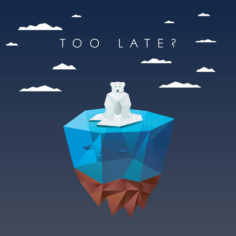 Niski poligonalny niedźwiedź polarny siedzi na lodowy unosić się royalty ilustracja