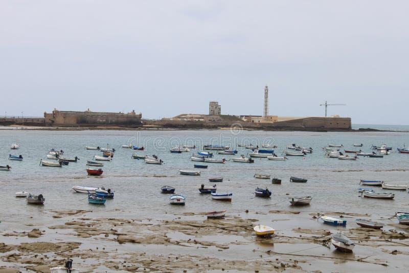Niski przypływ przy Cadiz zdjęcie stock