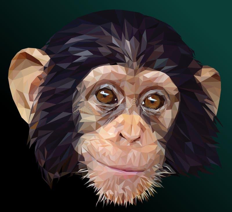 Niski wieloboka wektor młoda szympans twarz royalty ilustracja