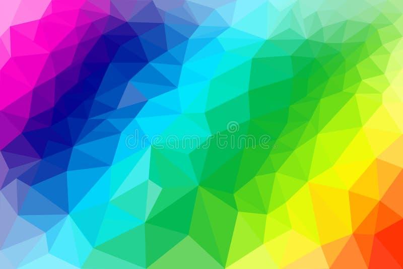 Niskiego Poli- abstrakcjonistycznego tła tęczy ilustracyjni colours ilustracja wektor