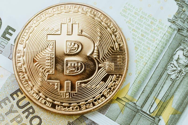 Niskiego sezonu lub borsukowatego rynku Bitcoin cryptocurrency, cyfrowy Mon fotografia stock